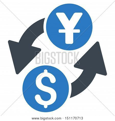 Dollar Yuan Exchange icon. Glyph style is bicolor flat iconic symbol with rounded angles, smooth blue colors, white background.