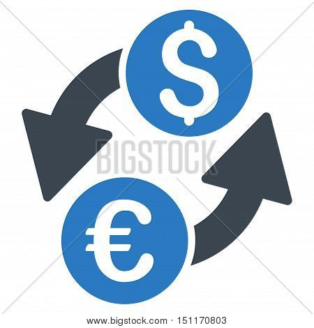 Euro Dollar Exchange icon. Glyph style is bicolor flat iconic symbol with rounded angles, smooth blue colors, white background.