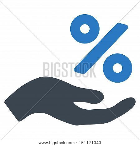 Percent Offer Hand icon. Glyph style is bicolor flat iconic symbol with rounded angles, smooth blue colors, white background.