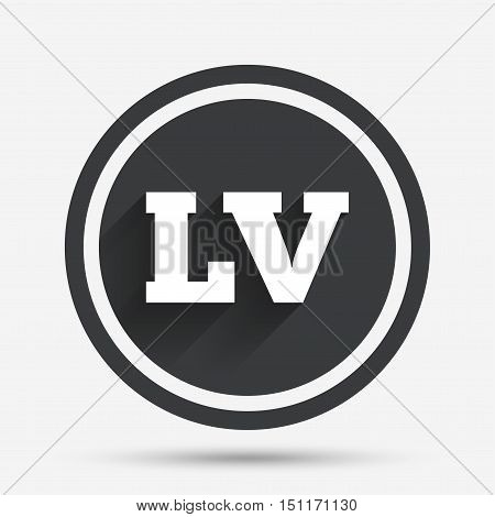 Latvian language sign icon. LV Latvia translation symbol. Circle flat button with shadow and border. Vector