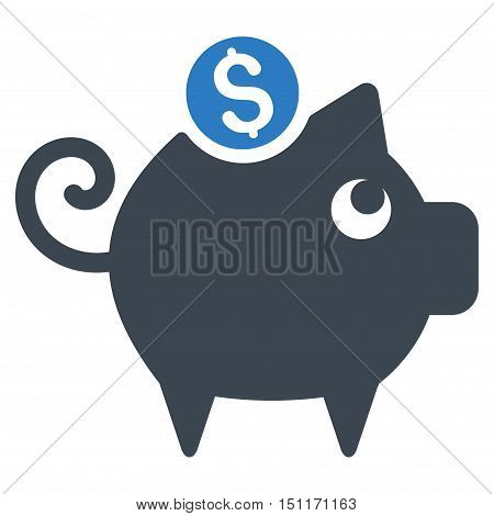 Piggy Bank icon. Glyph style is bicolor flat iconic symbol with rounded angles, smooth blue colors, white background.