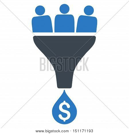 Sales Funnel icon. Glyph style is bicolor flat iconic symbol with rounded angles, smooth blue colors, white background.