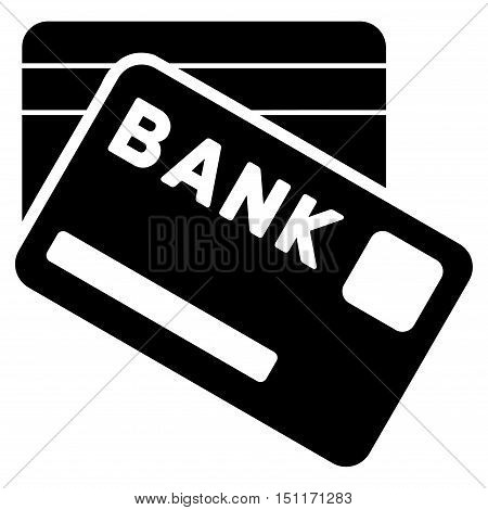 Bank Cards icon. Glyph style is flat iconic symbol with rounded angles, black color, white background.