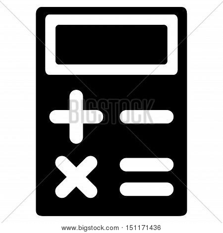Calculator icon. Glyph style is flat iconic symbol with rounded angles, black color, white background.