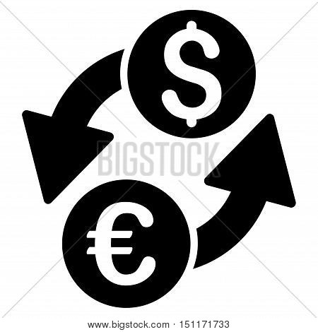 Euro Dollar Exchange icon. Glyph style is flat iconic symbol with rounded angles, black color, white background.