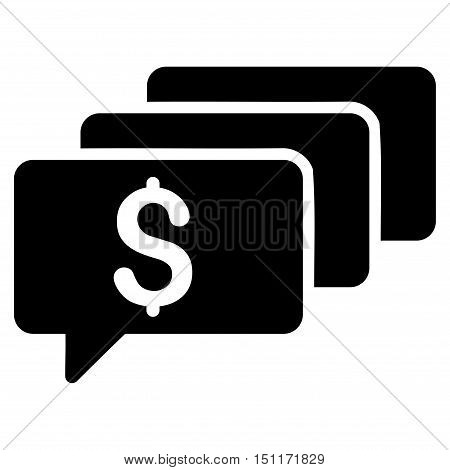 Money Messages icon. Glyph style is flat iconic symbol with rounded angles, black color, white background.