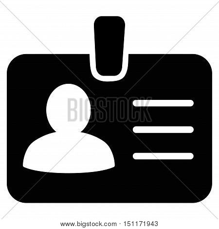 Person Badge icon. Glyph style is flat iconic symbol with rounded angles, black color, white background.