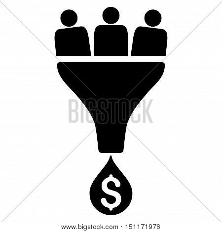 Sales Funnel icon. Glyph style is flat iconic symbol with rounded angles, black color, white background.