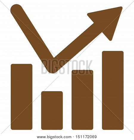Bar Chart Trend icon. Glyph style is flat iconic symbol with rounded angles, brown color, white background.