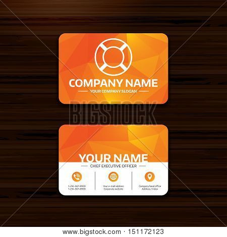 Business or visiting card template. Lifebuoy sign icon. Life salvation symbol. Phone, globe and pointer icons. Vector