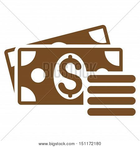 Dollar Cash icon. Glyph style is flat iconic symbol with rounded angles, brown color, white background.