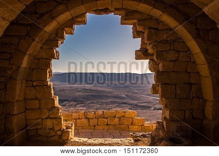 AVDAT, ISRAEL - The ruins of the ancient Nabatean city of Avdat. Avdat was once the center of spice trade in the Middle East, but it is now in ruins.