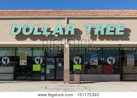 JACKSONVILLE, FL-OCTOBER 9, 2016: A Dollar Tree store front. Dollar Tree is an American chain of discount variety stores that sells items for $1 or less and has 13,600 stores in the US and Canada.