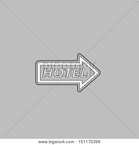 Hotel Simple line vector button. Thin line illustration icon. White outline symbol on grey background