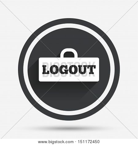 Logout sign icon. Sign out symbol. Lock icon. Circle flat button with shadow and border. Vector