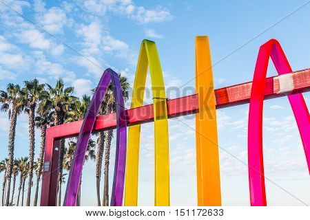 IMPERIAL BEACH, CALIFORNIA - OCTOBER 2, 2016: Colorful artwork at the entrance to the Pier Plaza by artist Malcolm Jones.