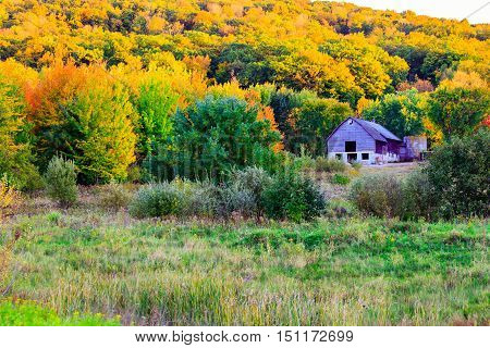 Old barn on a colorful hillside in Wisconsin during autumn.