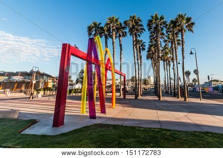IMPERIAL BEACH, CALIFORNIA - OCTOBER 2, 2016: The Pier Plaza with Surfhenge artwork by artist Malcolm Jones.