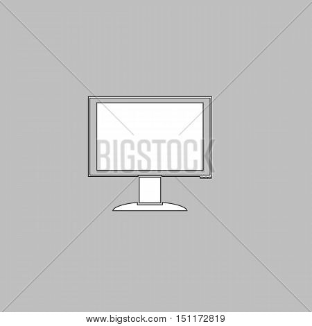 PC monitor Simple line vector button. Thin line illustration icon. White outline symbol on grey background