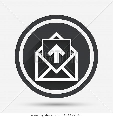 Mail icon. Envelope symbol. Outgoing message sign. Mail navigation button. Circle flat button with shadow and border. Vector