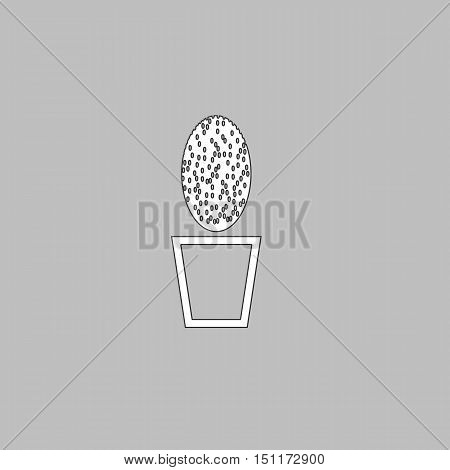 cacti Simple line vector button. Thin line illustration icon. White outline symbol on grey background