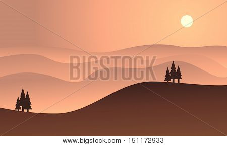 Silhouette of hill at sunset vector flat illustration