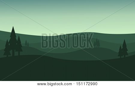 Silhouette of hill green backgrounds vector illustration