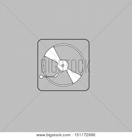 Vinyl turntable Simple line vector button. Thin line illustration icon. White outline symbol on grey background
