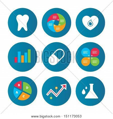 Business pie chart. Growth curve. Presentation buttons. Maternity icons. Pill, tooth, chemistry and heart signs. Blood donation symbol. Lab bulb with drops. Dental care. Data analysis. Vector