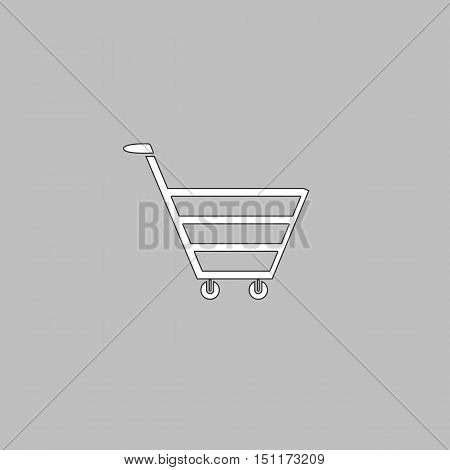 cart Simple line vector button. Thin line illustration icon. White outline symbol on grey background