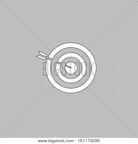 bullseye Simple line vector button. Thin line illustration icon. White outline symbol on grey background