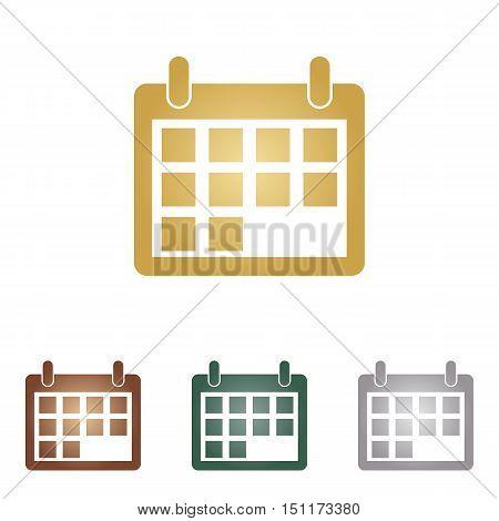 Calendar Sign Illustration. Metal Icons On White Backgound.
