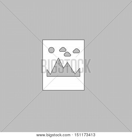 Mountains Simple line vector button. Thin line illustration icon. White outline symbol on grey background