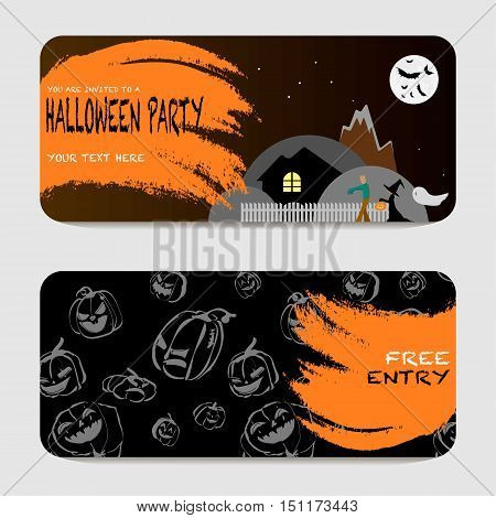 halloween prom cartoon vector invitation with zombie walk and pumpkins. Front and back side