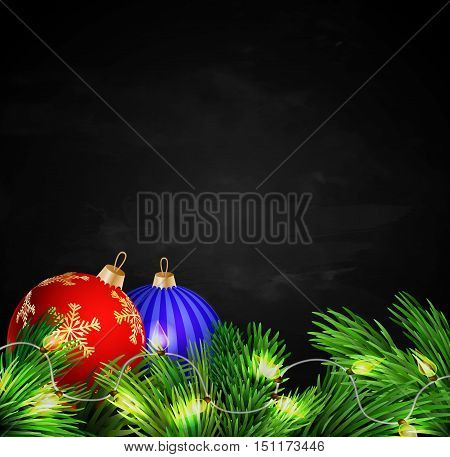 Christmas decorations with lights on Black chalkboard background Vector