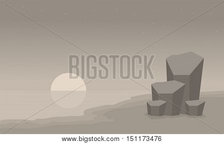 Landscape beach and rock of silhouette vector illustration