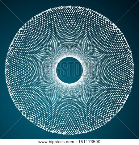 Abstract circle mosaic vector element. Composition of precisely arranged glowing lines and dots. Technology and science concept. White and blue colors.