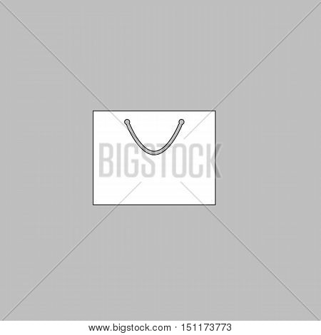 bag Simple line vector button. Thin line illustration icon. White outline symbol on grey background