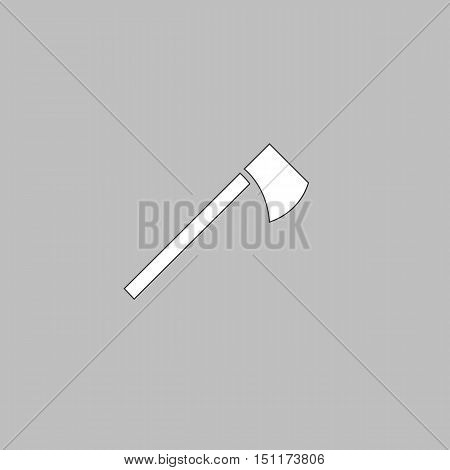 hatchet Simple line vector button. Thin line illustration icon. White outline symbol on grey background