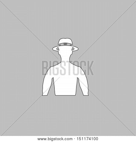 macho Simple line vector button. Thin line illustration icon. White outline symbol on grey background