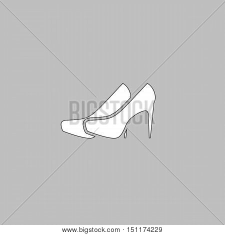 shoes Simple line vector button. Thin line illustration icon. White outline symbol on grey background