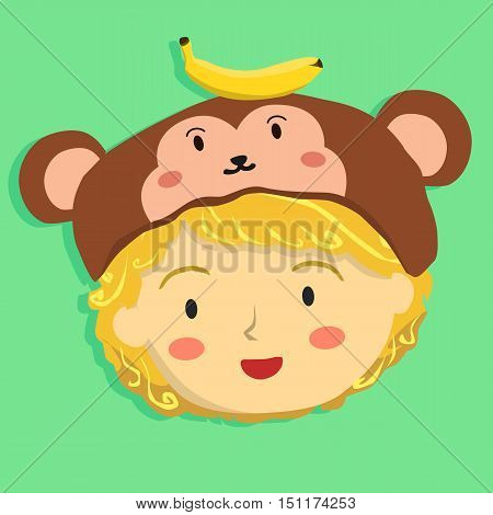 Face of a curly girl with monkey hat on tosca green background.