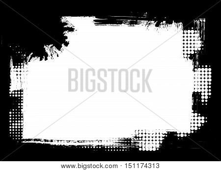 Dirty distressed paint brush and halftone abstract grunge frame