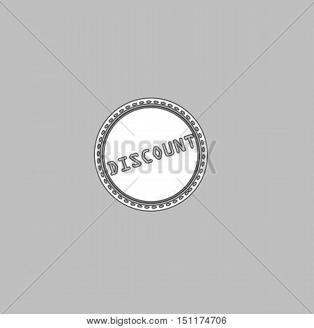 Discount Simple line vector button. Thin line illustration icon. White outline symbol on grey background