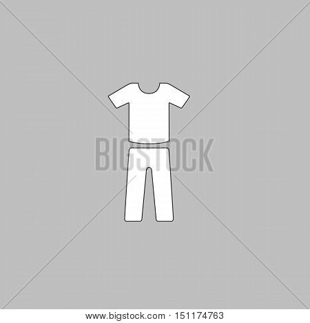 sport suit Simple line vector button. Thin line illustration icon. White outline symbol on grey background
