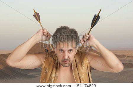 Men witch-hunter of arrows. Fantasy concept