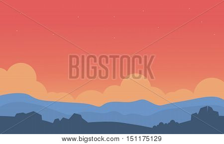 Silhouette of hill and orange sky landscape vector