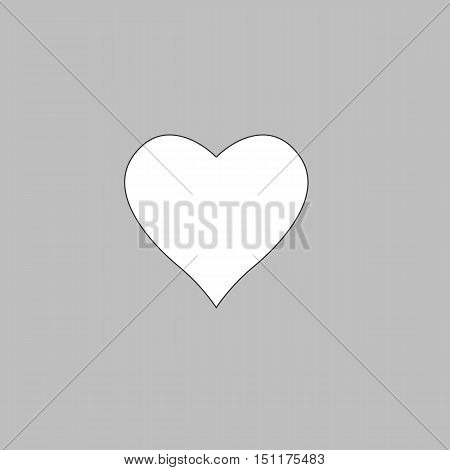 Heart Simple line vector button. Thin line illustration icon. White outline symbol on grey background