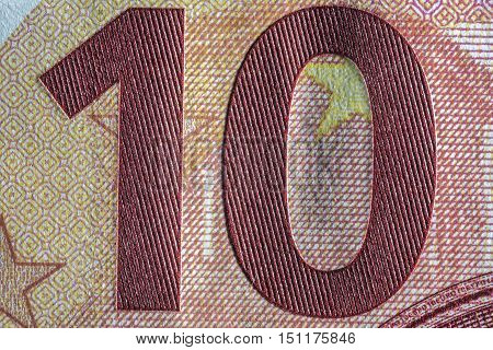 Banknote euro, the ruble - a fragment, texture of paper money poster