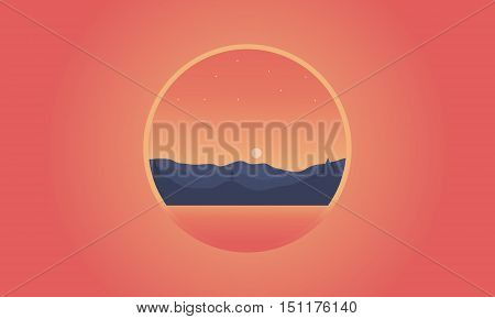 Silhouette of hill icon vector flat illustration